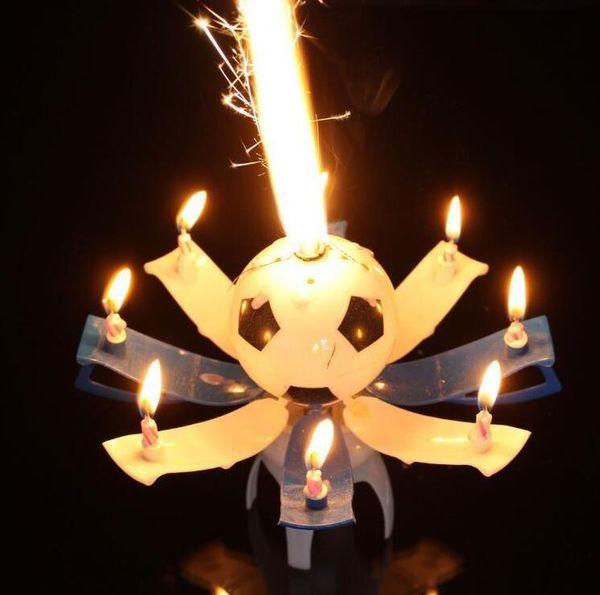 Musical Rotación Giratoria Fútbol Fútbol Cumpleaños Celebración Velas Pastel Topper Feliz cumpleaños Velas con 8 luces de vela favor