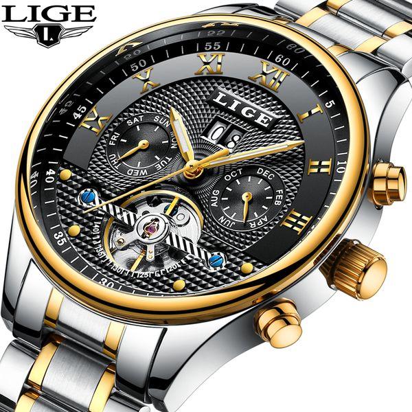 Relógios LIGE Automático Dos Homens de Negócios de Máquinas À Prova D 'Água Relógios Masculinos Relógios de Luxo Moda Casual Relogio masculino