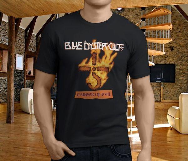 T Shirt Creator Manica corta Stampa girocollo Boc Blue Oyster Cult Carriera di Evil R nero Mens Shirt