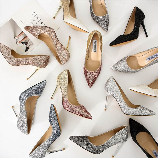 2018 new gradient sequins high heels fashion casual shoes funky dress shoes pointed toe wedding shoes for women
