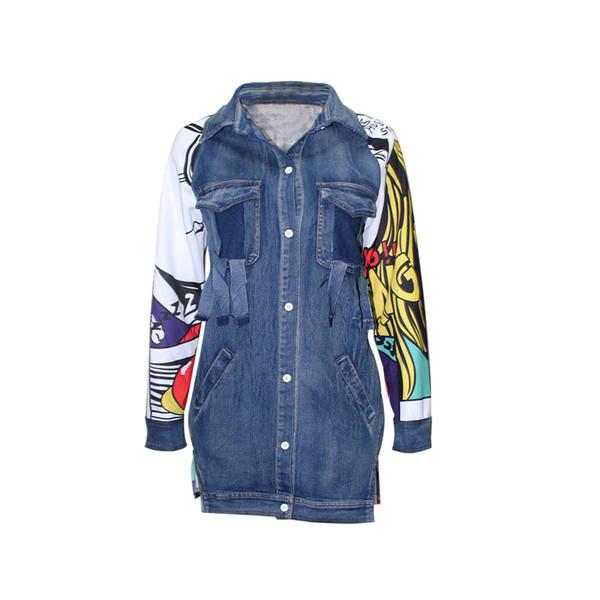 Spring Autumn Women Jeans Jacket Casual Streetwear Print Coats Casual Outerwear Jackets Vintage Denim Jacket New S-XL