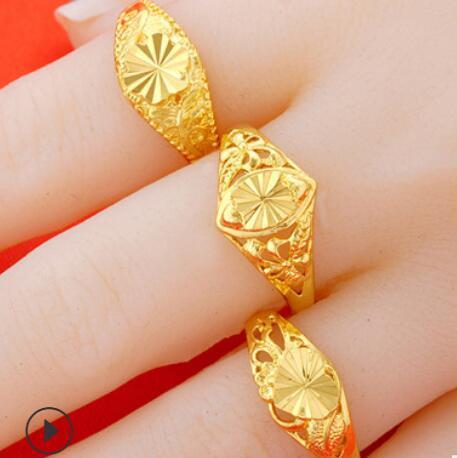 Luxury Jewelry Designer Women Rings 24k Gold Color Flowers Simple