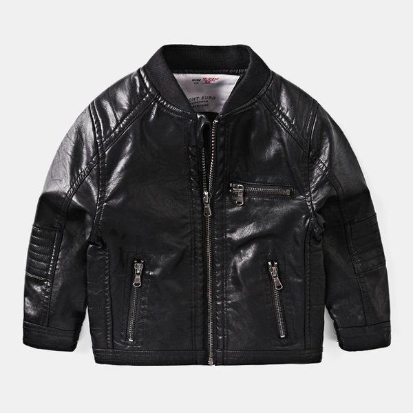 Classic Trendy Black Faux Leather Jacket Kids Boy Zip Motorcycle Coat Spring Autumn 2-7 Years Toddler Outerwear cocuk mont 10003