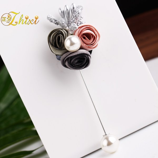 ZHIXI Fine Pearl Jewelry Real Freshwater Pearl Brooches Flower Brooch Pin For Women White 8-9MM Trendy Flower Gift B161