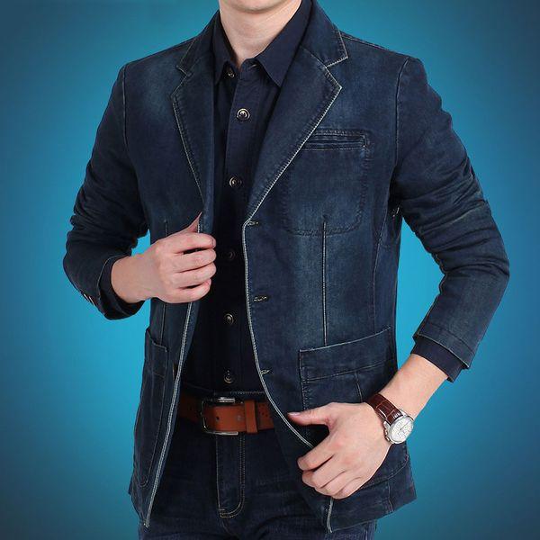 Europa e Stati Uniti la nuova moda uomo casual denim giacca loose-line tasca toppa M-4XL AL7837