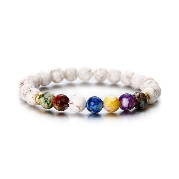 Satış Buda Bilezikler 7 Çakra Şifa Mala Meditasyon Namaz Yoga Mücevherat Kadınlar Bilezik Yuvarlak Akrilik Boncuklu Kaplan Gözü Boncuk