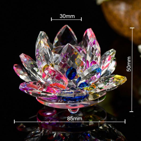 Verschiedene Farben 85mm Kristall Lotus Handwerk Glas Blume Miniaturen Briefbeschwerer Tisch Ornamente Geschenk Dekoration Zubehör