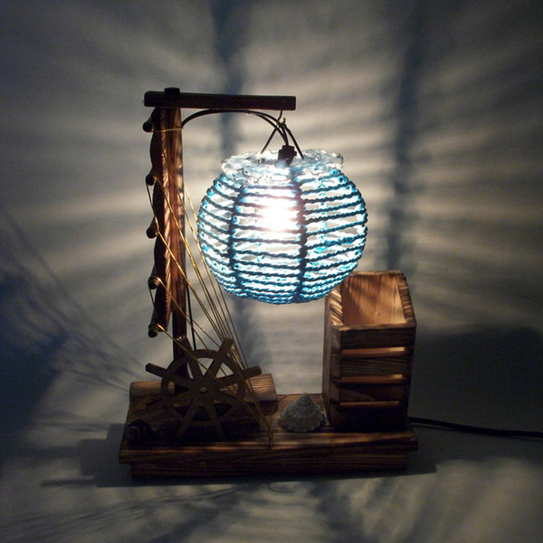 Creative wooden lamp with pen holder home decoration bedside lighting decorations