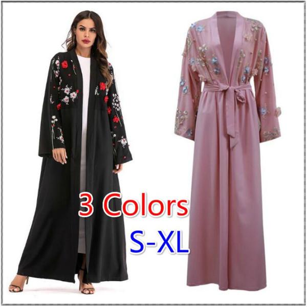 fda9a69259d074 Acheter Femmes Abaya Dubai Kaftan Arabe Long Floral Musulman Kimono  Cardigan Hijab Robe Turc Elbise Mubarak Islamique Vêtements 3 Couleurs De  $26.32 ...