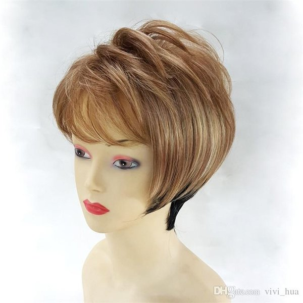 Short Straight Blonde Blond Hair, Black Female Wig, High Temperature Silk, Natural Comfort Gradient Wig Suitable For Women To Wear Hand Made