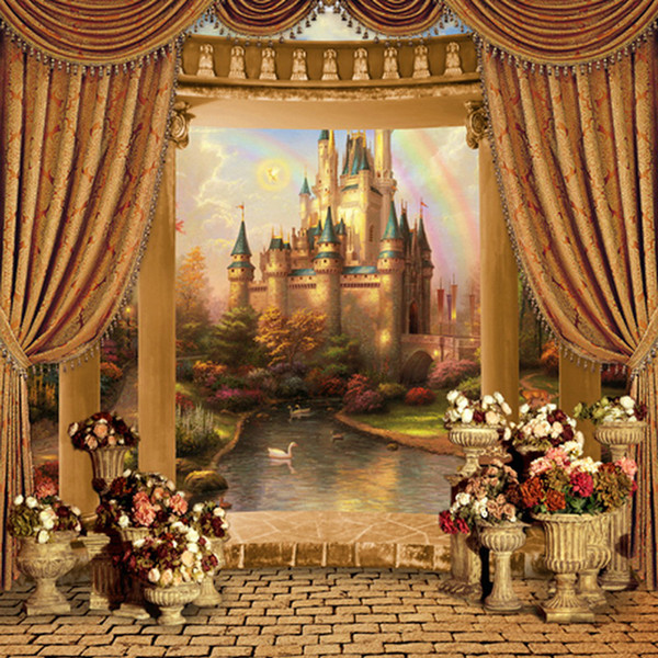 Fairy Tale Rainbow Princess Castle Backdrop Photography Curtain Pillars Flowers Garden Pavilion Stage Photo Booth Backgrounds Brick Floor