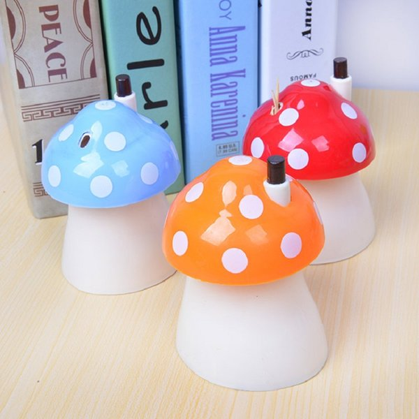 New pocket Plastic Mushroom Design Automatic Toothpick Holder dispenser Box 100pcs WA0426