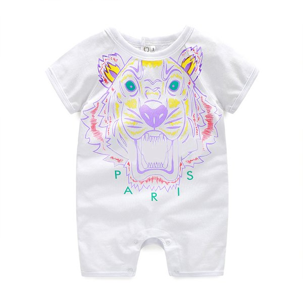 Baby Short Sleeve Jumpsuits Summer Thin Style Pure Cotton Newborn Child Creeping Suit Overalls Children Tiger Head Embroidery