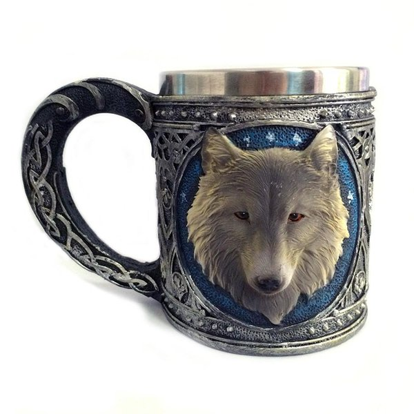 Wholesale- Spot foreign trade new stereo 3D resin glass stainless steel mug wolf cartoon animal drinking cup gift