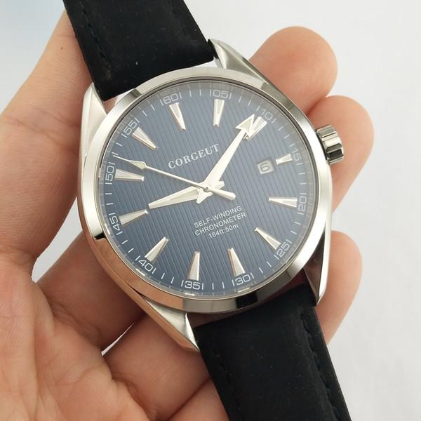 Corgeut 41mm blaues Zifferblatt Saphirglas Edelstahlgehäuse Lederarmband automatische mechanische Herrenarmbanduhren Uhren 2750
