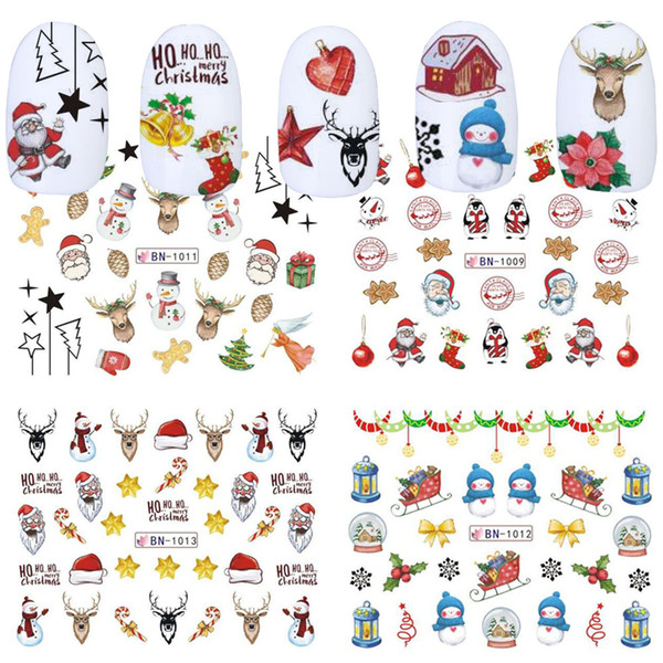 12 Designs Water Transfer Stickers Nail Art Christmas Nail Stickers Deer Gift Snowflakes Image Winter Decorations TRBN1009-1020