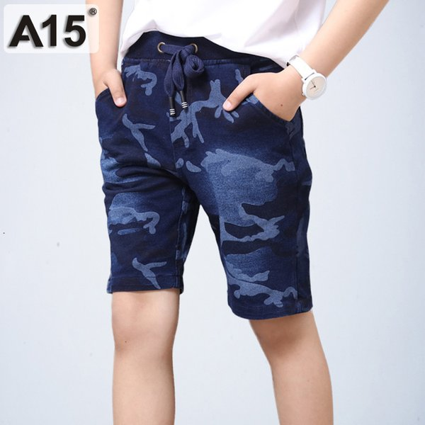 Kids Jeans Shorts Boys Kids Clothes Boys Summer 2018 Camo Pants Jogger Jeans Pants Trousers Teens Big Size 6 8 10 12 14 16 Years Y18103008