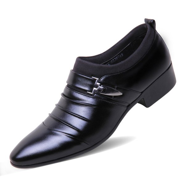 2018 Men Formal Pointed Toe Leather Business Shoes Loafers Luxury Italian Brand Wedding Dress Oxford Shoes For Men Classic Black Office Shoe
