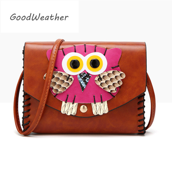 Fashion messenger bag women shoulder bags small female cute owl leather bag designer bags woman for mobile brown ladies handbag
