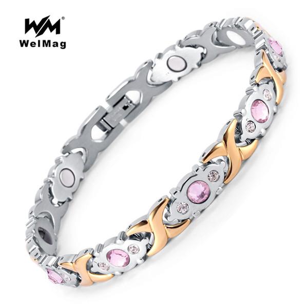 WelMag 2018 Fashion Crystal Gem Woman Magnetic Bracelet Top Quality Stainless Steel Germanium Healing Jewelry Bio Energy Bangles