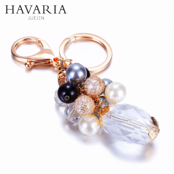 HAVARIA Tassel imitation pearl High-grade material Jewelry keychain women key holder chain ring car llaveros bag pendant Charm