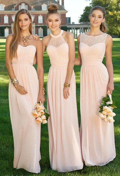 2018 New Bridesmaid Dresses Long Champagne Chiffon Include A Sweetheart B Halter C Bateau Neckline Sample Design Cheap Price Under US 100