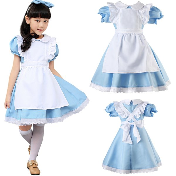 Alice in Wonderland Kids Girls Fancy Dress Maid Lolita Cosplay Costume Outfits Set