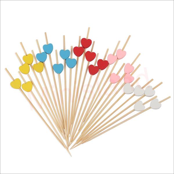 150 считает украшения для вечеринок коктейль выбирает бамбуковые закуски зубочистки многоцветный любовь Сердце для свадьбы День Святого Валентина 4,7 дюйма-MSL130