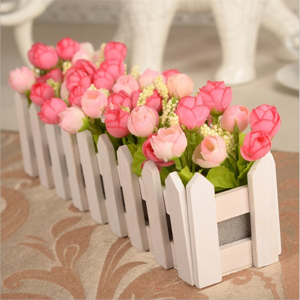 30cm Wedding Decorative Simulation Artificial Flowers Small Potted Plant Fake Rose Set With White Picket Fence