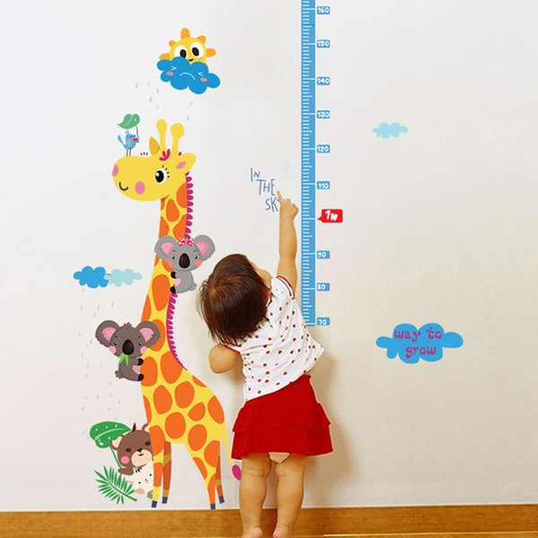 1PC Cartoon Animal Kids Height Chart Wall Sticker Baby kids Room Growth Chart Home Decor Height Measure Wall Decals Art