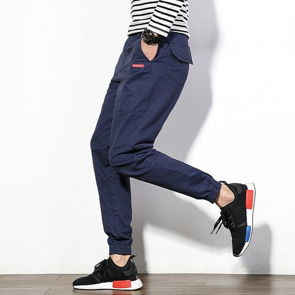 Japan Style Men Casual Pant Autumn Slim Fit Cargo Pants Boys Joggers Mid Waist Cotton Plus Size Trousers Male 4Colors