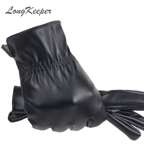 LongKeeper 2017 High Quality Spring Winter Male PU Leather Thick Black Touchs Screen Gloves Man Car Driving Mittens Mujer