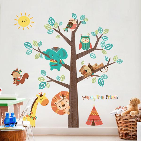 Barato Adesivos Animal Árvore Etiqueta Decalques Crianças Crianças Quarto de Bebê Quarto Do Berçário Adesivos de Parede Home Decor Sala de estar Decoração Da Parede Da Árvore