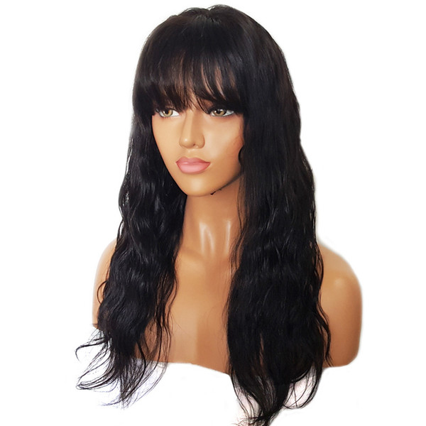 Full Lace Human Hair Wig Wavy Wave Natural Wave Pre-plucked Hairline Brazilian Virgin Hair 150% Density Lace Front Wig With Baby Hair