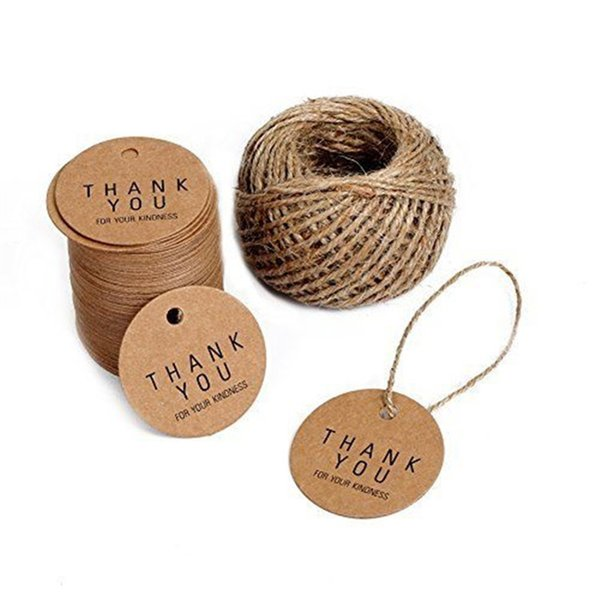 Diy Handmade Thank You Label Tag Bookmark Gift Card Round Retro Style Black Printing Clothing Price Tags With Kraft Paper 5hpa jj