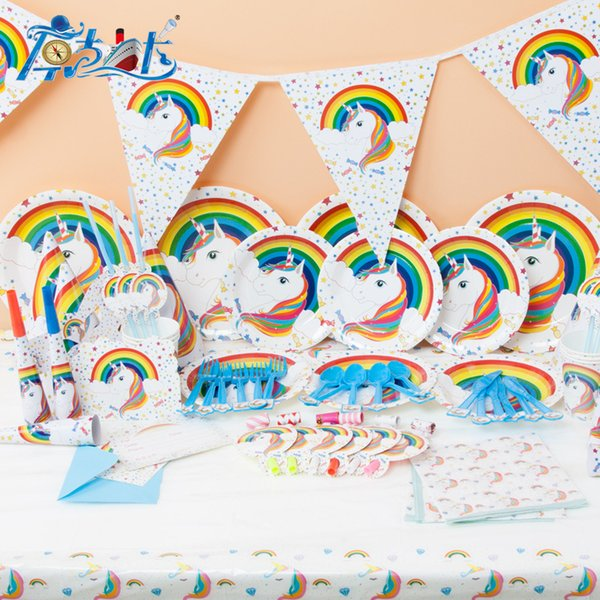 Cartoon Unicorn Theme Tableware Children Birthday Party Wedding Supplies Decorations Set Supplies Unicornio Props Hot Sale 36 8kk XZ