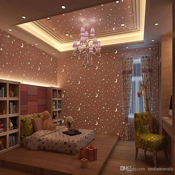 Kid's Room Luminous Wallpaper Roll Stars And The Moon Boys And Girls Children's Room Bedroom Ceiling Fluorescent Wallpaper Decor