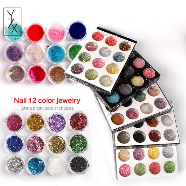 YZX 12pcs/set DIY Nails Art Stickers Shinny Sequins Make Up Decorations Colorful Line Dry Flowers Fine Velvet Powder Manicure