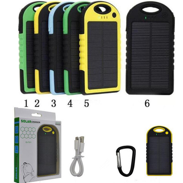 solar power Charger 5000mAh and Battery solar panel waterproof shockproof Dustproof portable power bank for Cell phone Laptop Camera 2 USB