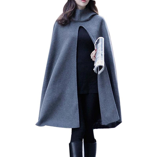 New Women Hooded Cloak Windbreaker Overcoat Long Poncho Cape Coat 2018 Woolen Blend Shawl Femme Cape Coat Plus Size Ponchoes