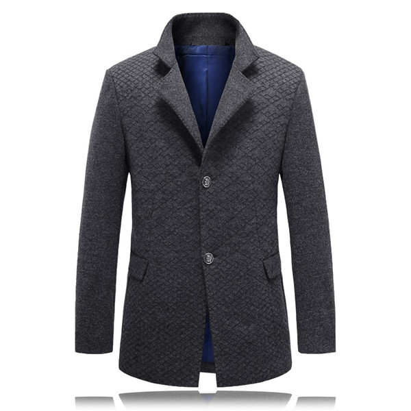 Wholesale- 2016 winter high quality plaid gray trench Men single Breasted Trench Coat Men Outerwear Casual Men's Jacket Windbreaker M-3XL