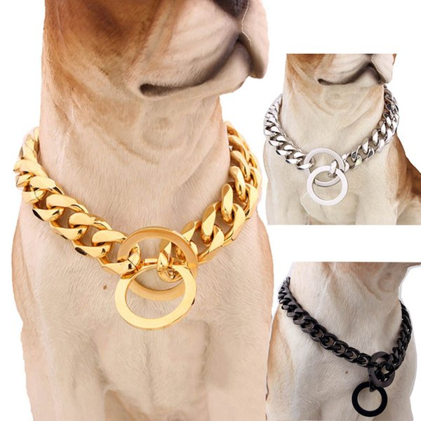 15mm Strong Silver Gold Stainless Steel Slip Dog Collar Metal Dogs Training Choke Chain Collars for Large Dogs Pitbull Bulldog
