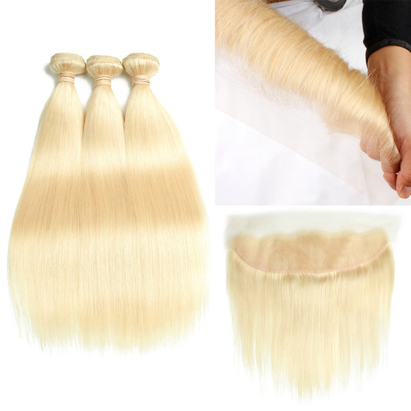 Top Selling 10-30 inch Long #613 Blond Human Hair 3 Bundles with Lace Frontal Closure 8A Mink Brazilian Hair Straight Body Wave HCDIVA