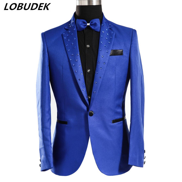 Royal Blue Crystals Diamond Men's Jacket Coats Male Wedding Groom Outerwear Nightclub Bar Prom Singer Performance Costume Slim Stage Outfit