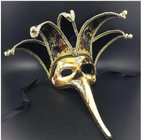Maschera Veneziana Naso Lungo Nero / Rosso Corno Nero / Rosso con Campana realizzata a mano in Faccia Halloween Maschera Favore di Partito DEC163