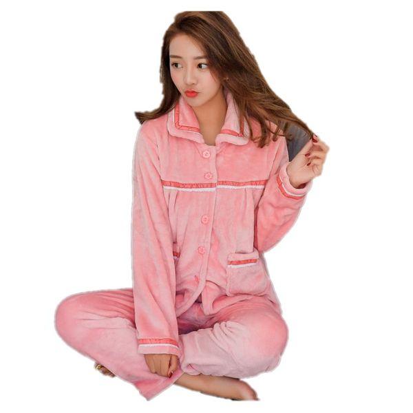 5XL 6XL Pregnant Flannel cartoon thick Autumn winter women Pajamas plus size M-4XL coral fleece sleepwear women Pajama Sets
