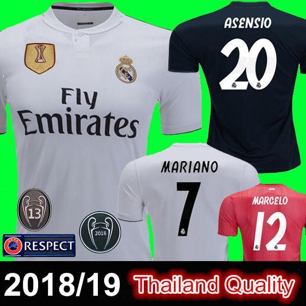 2018-19 Real Madrid Futbol Forması BENZEMA KROOS Evde Deplasman RAMOS MODRIK BALE ISCO Futbol Gömlek Camiseta Maillot MARCELO ASENSIO Üniforma