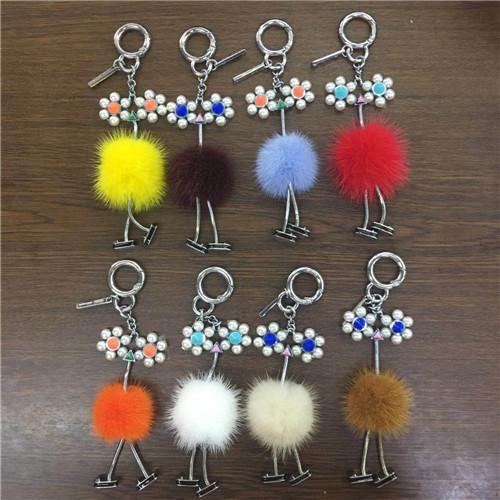 Neue echte Pelz Strauß Tasche Charm Pompom Ball Bug Tasche Charme Schlüsselanhänger