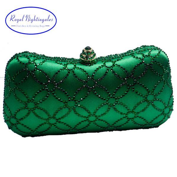 Flower Emerald Dark Green Rhinestone Crystal Clutch Evening Bags for Womens Party Wedding Bridal Crystal Handbag and Box Clutch Y18103003