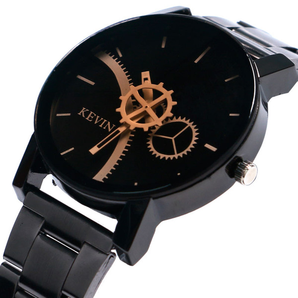 Fashion Full Black Gear Wheel Dial Quartz Watch Men Stainless Steel Band Wrist Watch Male Unique Creative Elegant Dress